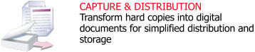 CAPTURE & DISTRIBUTION Transform hard copies into digital documents for simplified distribution and storage